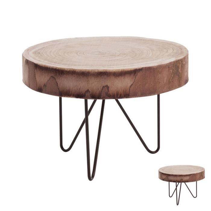 Duo De Tables Basses Rondin Natural L 41 X L 41 X H 30 Cm