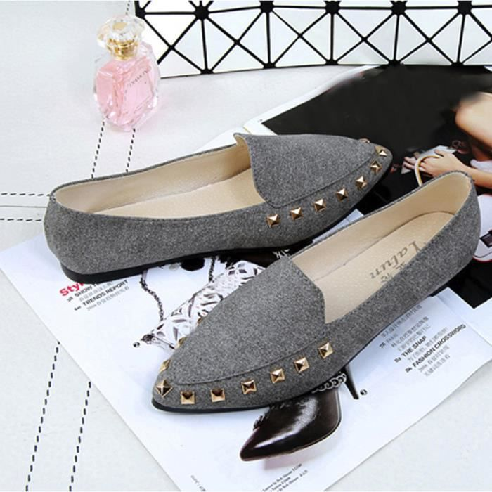 Casual Appartements Comfy Chaussures Ladies on Slip Soft Gris Bateau Femme Rivet ZrZTSA
