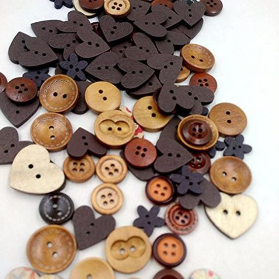 mercerie couture tricot scrapbooking Bouton Bois 25MM quantité au choix