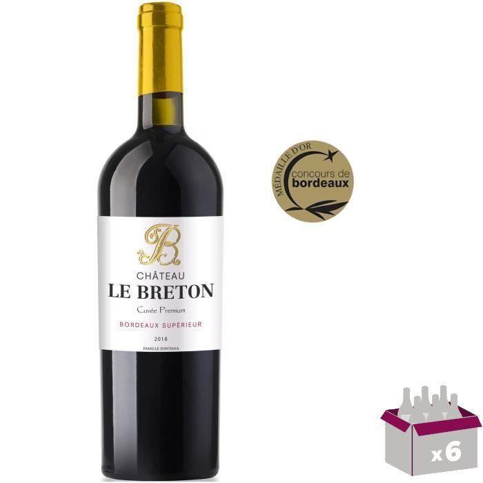 Château Le Breton 2018 Bordeaux Supérieur - Vin rouge de Bordeaux - Caisse bois