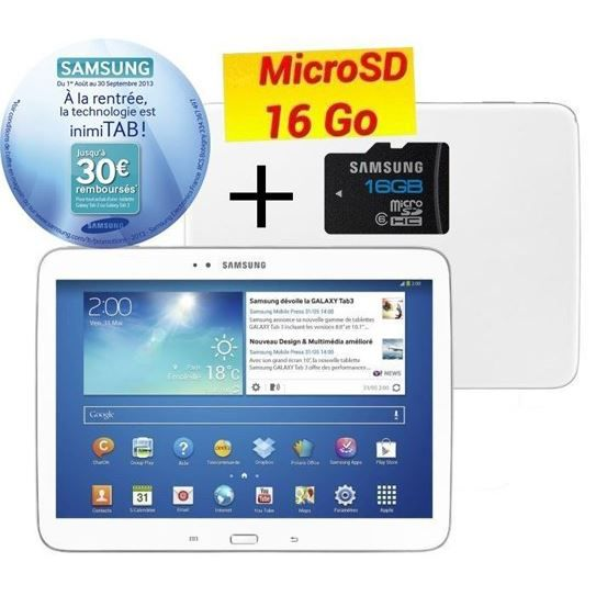 samsung galaxy tab 3 10 1 16go carte sd 16 go achat vente tablette tactile samsung g tab. Black Bedroom Furniture Sets. Home Design Ideas