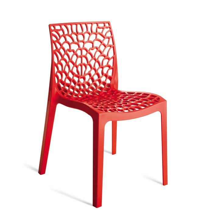 chaises design rouge gruyer achat vente chaise polypropylene cdiscount. Black Bedroom Furniture Sets. Home Design Ideas