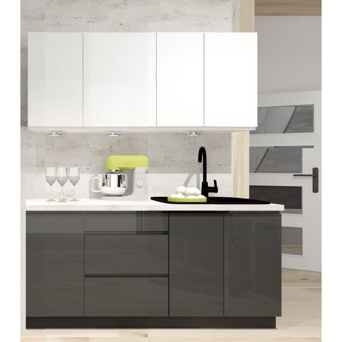 Meuble De Cuisine Laqué cuisine complete nina gris blanc laque 1m80 - 6 meubles
