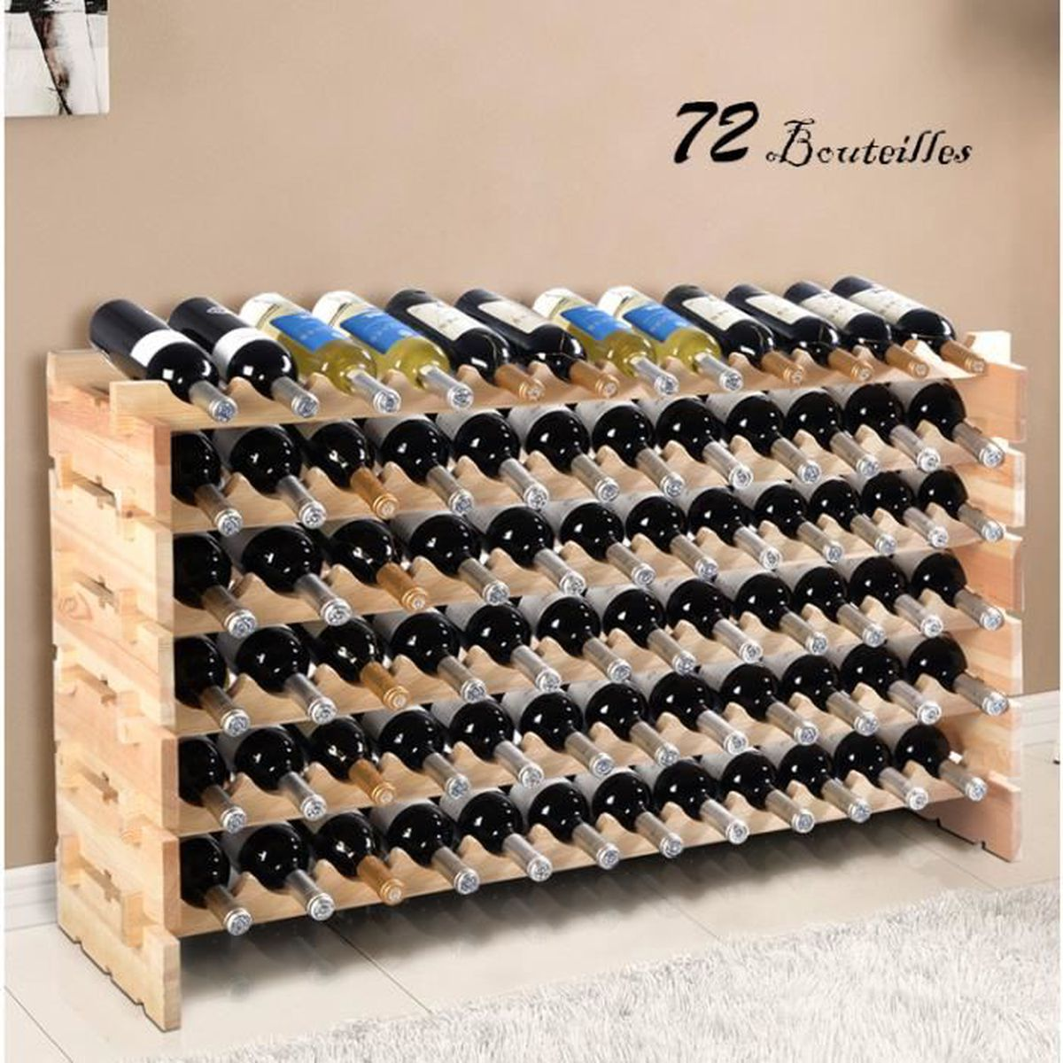 tag re vin casier vin porte bouteille 72 bouteilles support range bouteille achat vente. Black Bedroom Furniture Sets. Home Design Ideas