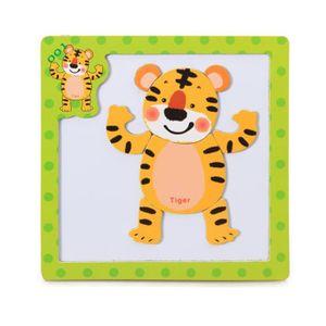 PUZZLE Puzzle 3D en bois magnétique pour animaux  Tigre #