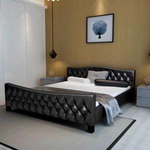 STRUCTURE DE LIT Cadre de lit Cuir artificiel 180 x 200 cm Noir Str