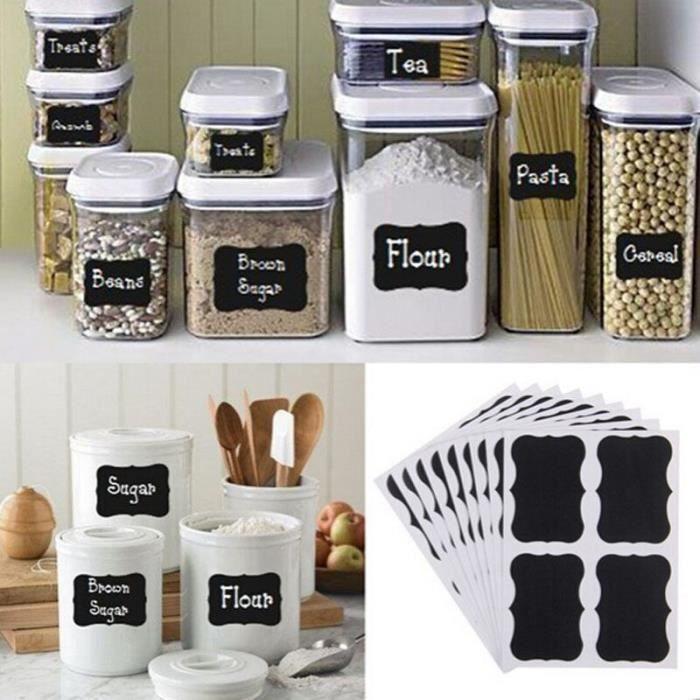 Étiquettes autocollantes pour pot de confiture de cuisine, 36 pièces, tableau noir fantaisie, décoration, tableau noir, [0300868]