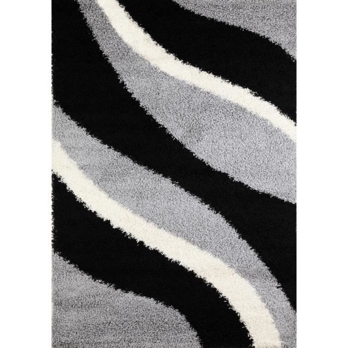 Torino tapis de salon shaggy 120x170 cm gris achat for Tapis salon contemporain