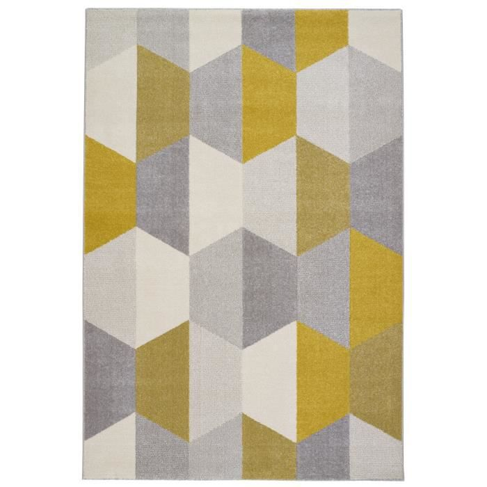 tapis de salon madrid style scandinave 120x170 cm gris et jaune achat vente tapis 100. Black Bedroom Furniture Sets. Home Design Ideas