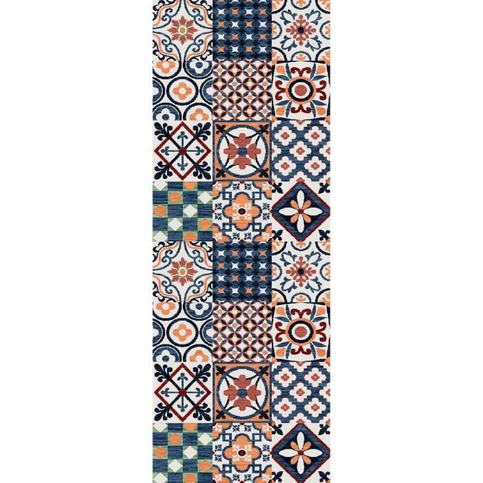 utopia tapis de couloir 80x300 cm orange bleu et blanc achat vente tapis de couloir 100. Black Bedroom Furniture Sets. Home Design Ideas