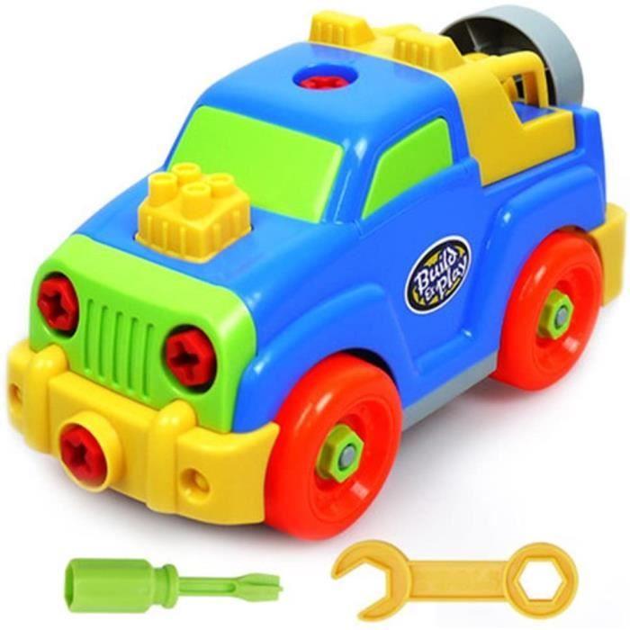 Jeux de Construction Voiture Jouet Assemblage Jeep Flexible Blocs Cadeau pour Enfant Garçon Fille 3 Ans Et Plus (Light Blue)