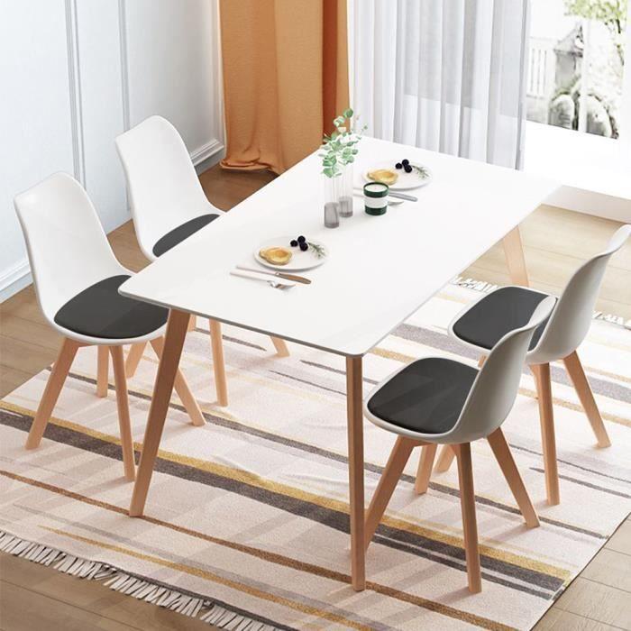 Lot de 4 Chaises Scandinave Design en polypropylène Et pieds en bois massif,Blanc coussin gris, Salle à manger Salon Bureau Chambre