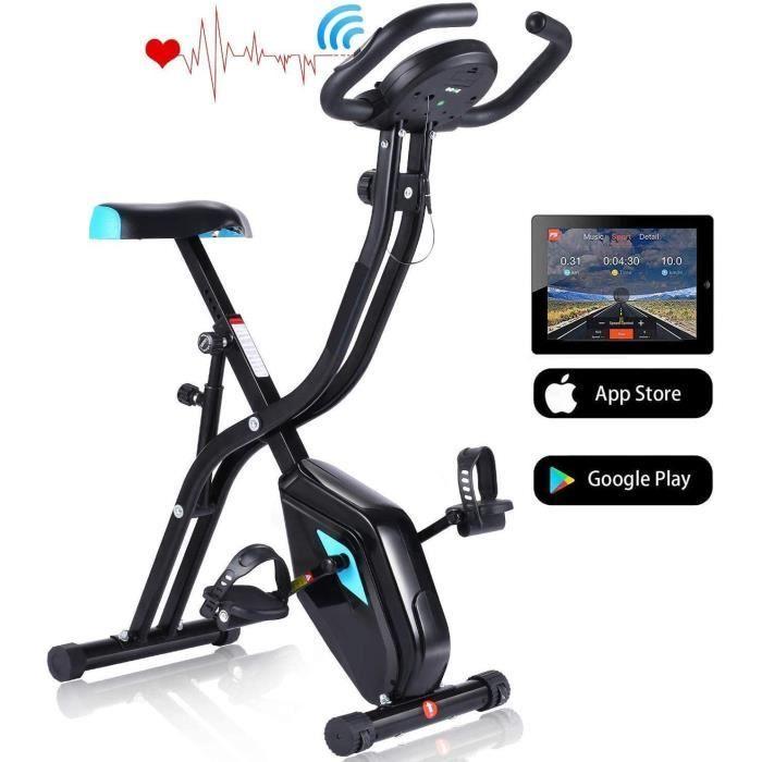Profun Vélo d'Appartement Pliable Vélo d'Exercice APP 10 Niveaux de Resistance magnétique, Vélo de Fitness avec Support pour Tablett