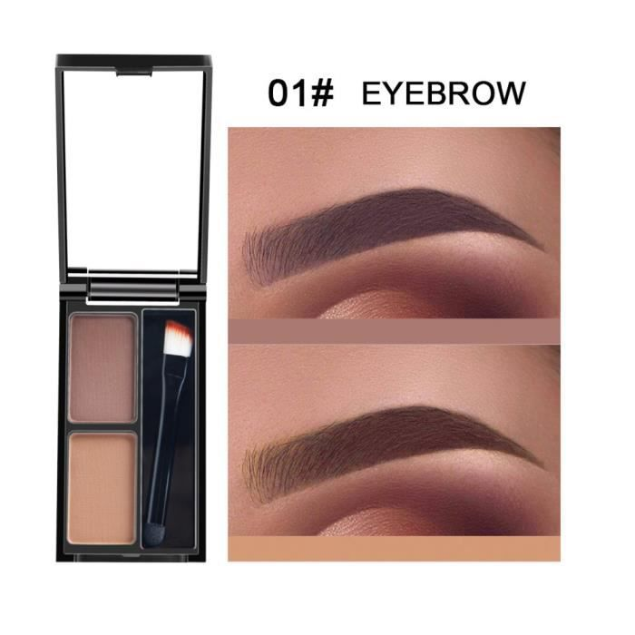 crayon à sourcils Kit d'ombrage cosmétique de palette de sourcil de poudre de sourcil de 2 couleurs avec le miroir de brosse A