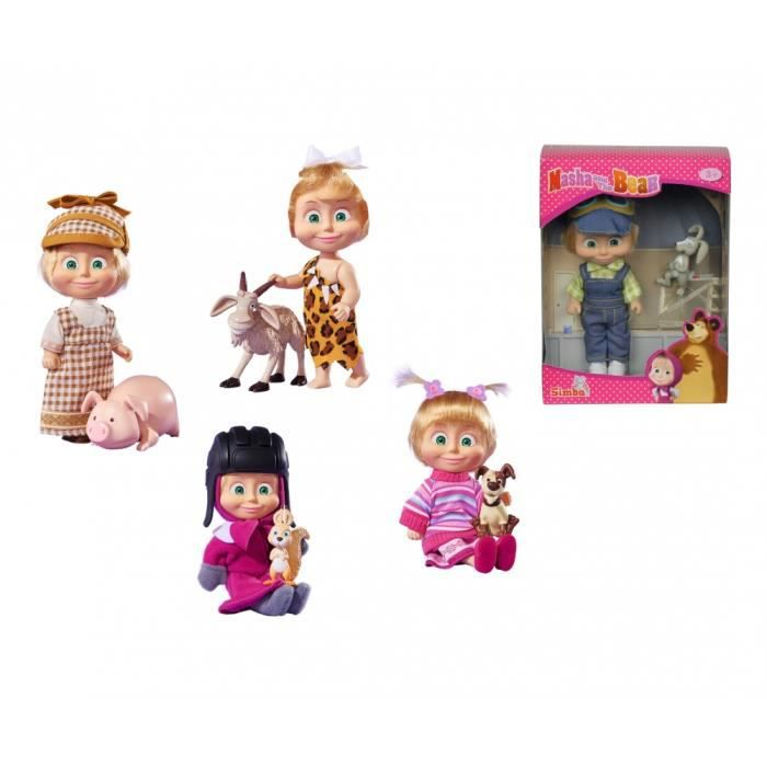 Simba Toys Masha with her Aninmal Friends, 5-ass, Multicolore, Femelle, Fille, 3 année(s), 9 année(s), 120 mm