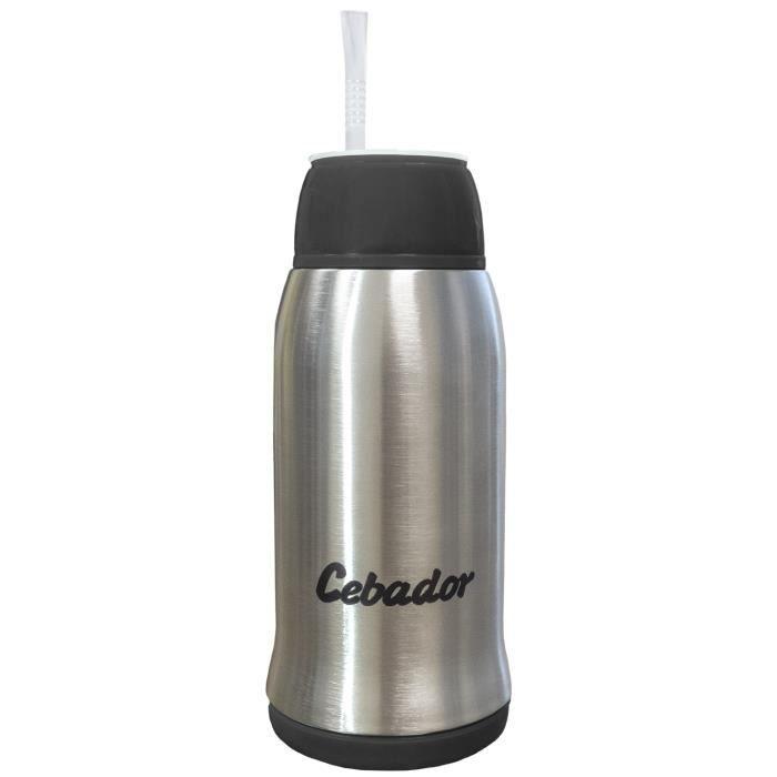 Cebador - Yerbomos 3.0 - calebasse, bombilla et bouteille en un ! - Récipient de Yerba Maté 500 ml - Double paroi en acier inox - Er