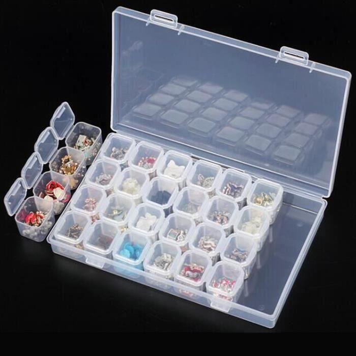Boîte en plastique de stockage pour bijoux pour outils d'art d'ongle 28 fentes organisateur perles