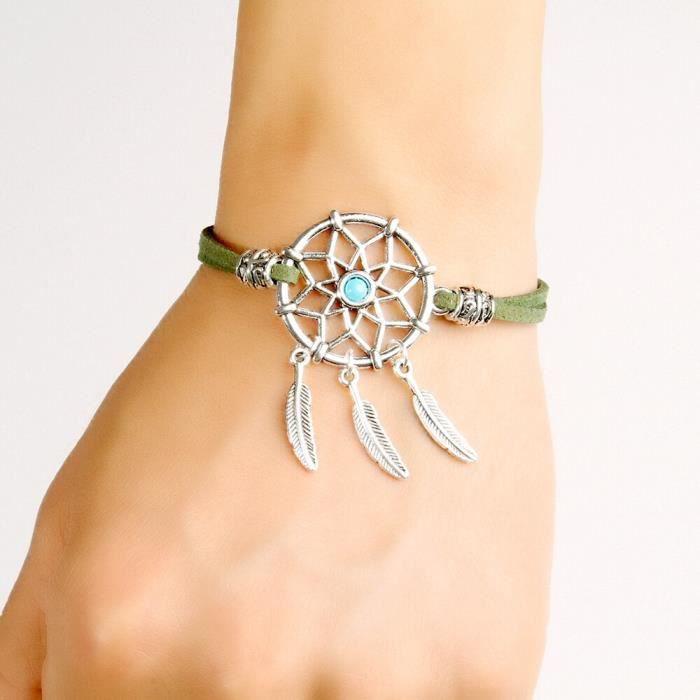 CARILLON A VENT - CARILLON EOLIEN,MIAMOR Mini Bracelet capteur de rêves - Type dark green