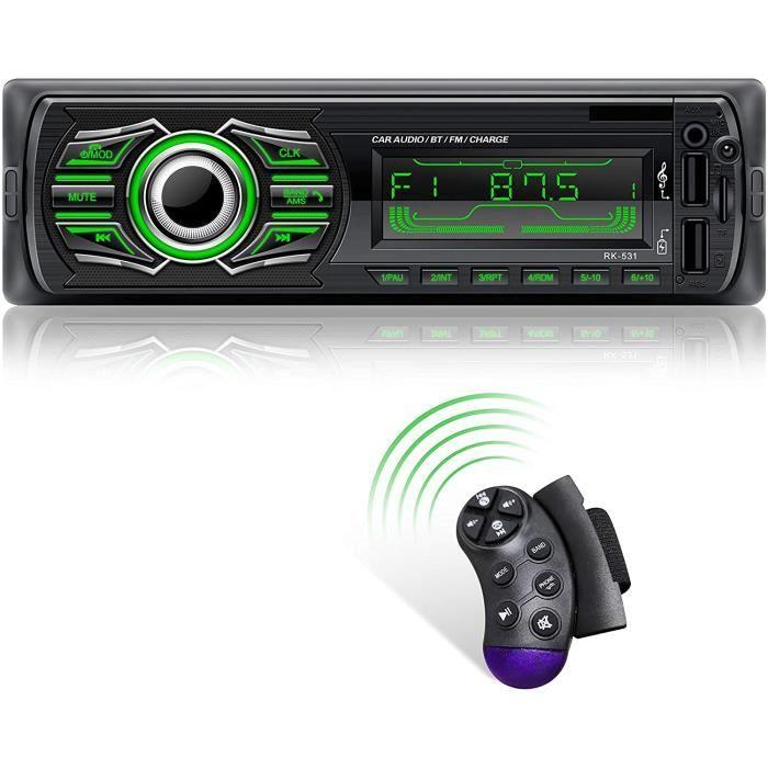 X-Reako Autoradio Bluetooth pour lecteur MP3, appels mains libres, radio FM, contrôle à distance du volant, charge rapide