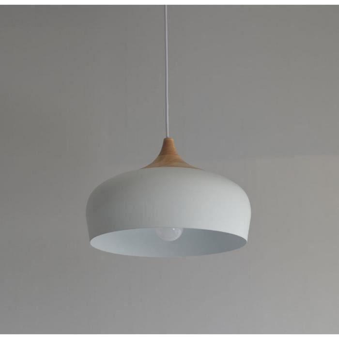 YA*Blanc nordique simple lustre en aluminium lustre chambre salon table d'étude personnalité de la personnalité lustre en bois améri