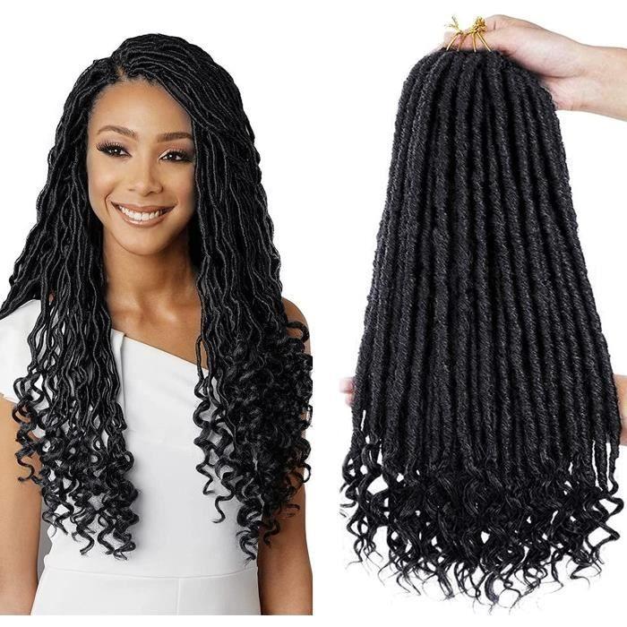 6 Packs Déesse Faux Locs Crochet Cheveux 18 Pouces oite Déesse Locs Crochet Cheveux Hippie Locs Synthétique Tresses Extensions [14]
