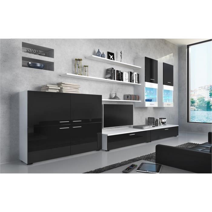 Ensemble de Meubles - Ensemble de séjour avec LEDs contemporain Blanc Mate et Noir Laqué, Dimensions : 300x189x42 cm de profondeur.
