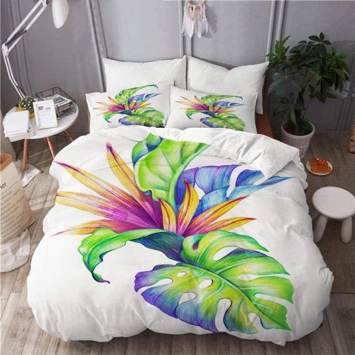 Parure de lit-Feuilles et Fleurs Tropicales abstraites Jungle Plantes-1 Housse de Couette+2 taie d'oreillers-140x200cm[9525]