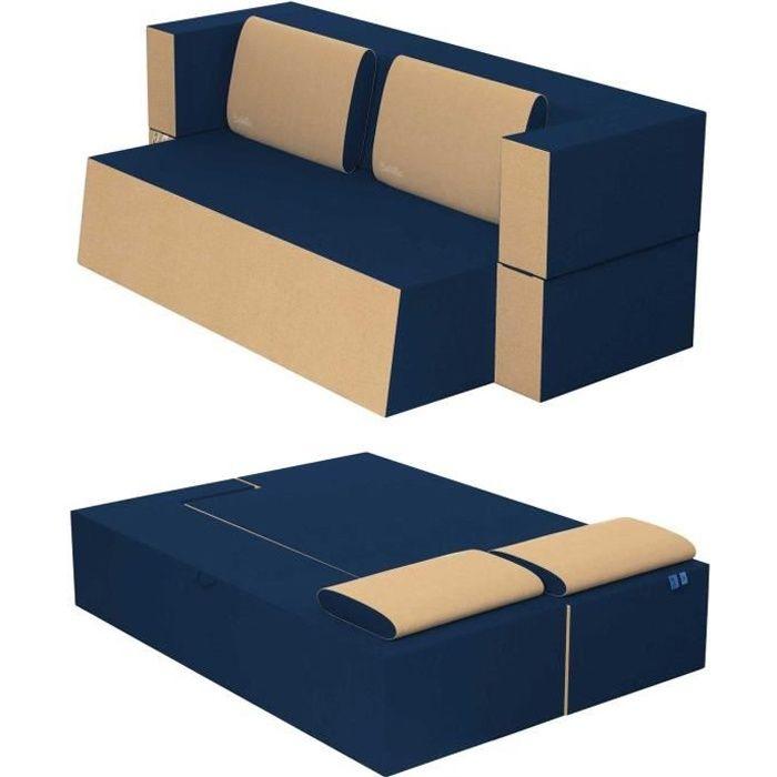 Canapé Lit Praticho Convertible Modulable Réversible 2 places -Tissu dehoussable et lavable Couleur Bleu