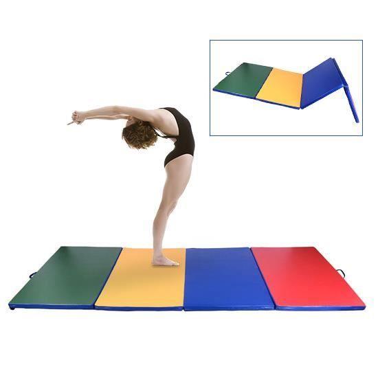 Tapis de gymnastique pliable natte de gym matelas fitness 305x122x5cm multicolore 52