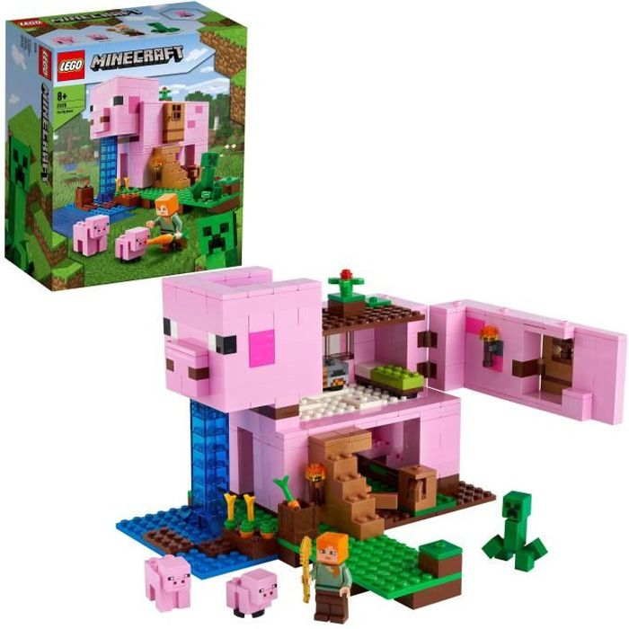 LEGO® Minecraft 21170 Le jeu de construction de La Maison Cochon incluant les figurines d'Alex et de Creeper