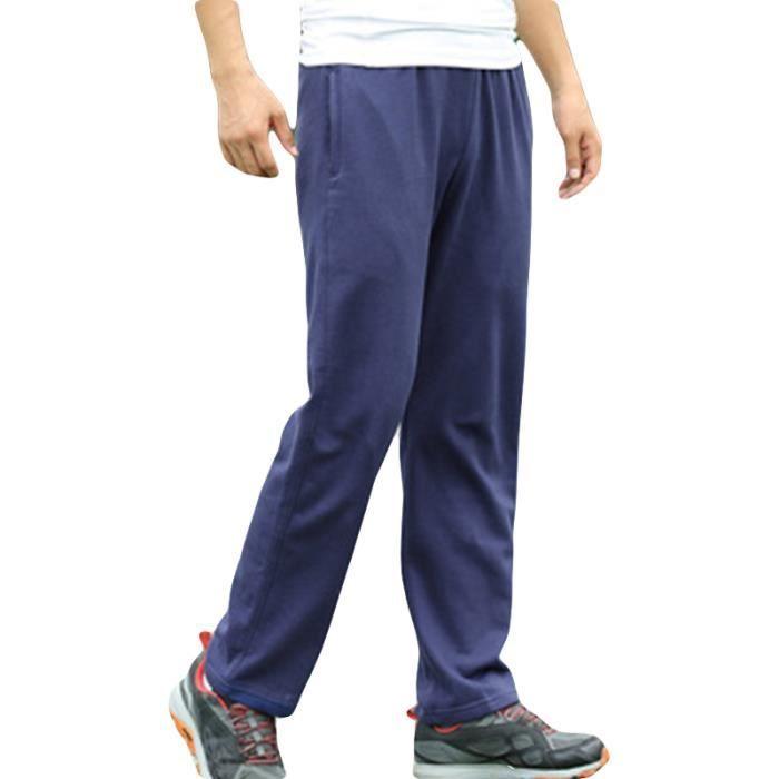 Pantalon de jogging Homme sport musculation en baggy Droit Pantalon Homme running uni 100% coton - Noir