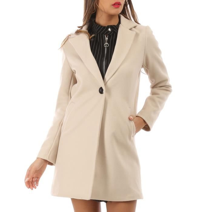 Manteau classique beige à bouton