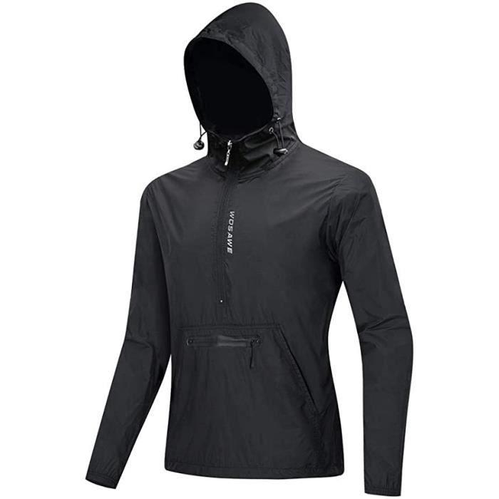 Hommes Veste de Cyclisme Avec Capuche, Coupe-Vent Vélo Manteau Ultra-Léger Packable VTT Vêtements - Noir