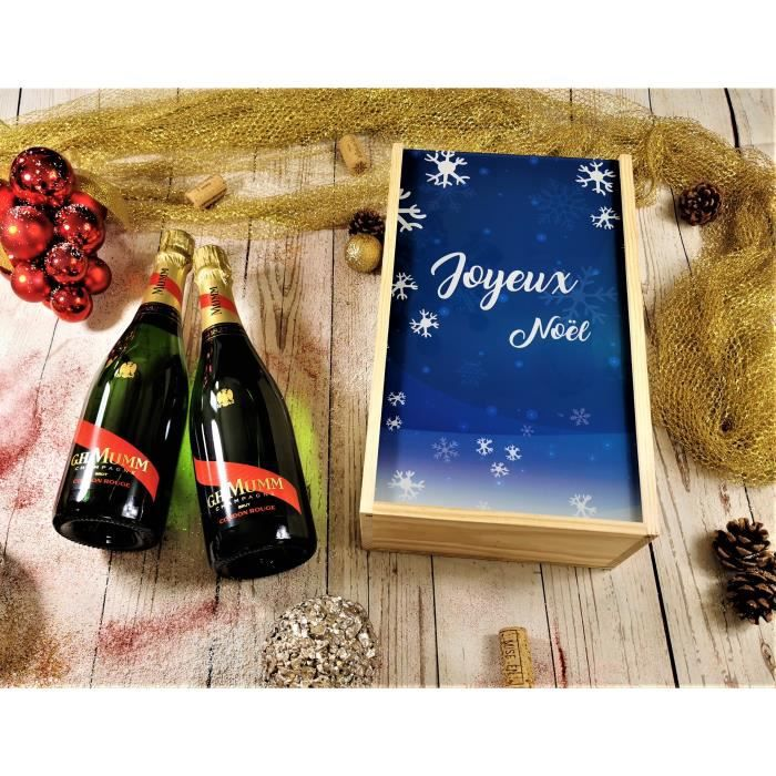 Coffret Cadeau Champagne Noël -Flocons- + 2 bouteilles de Champagne Mumm Cordon Rouge