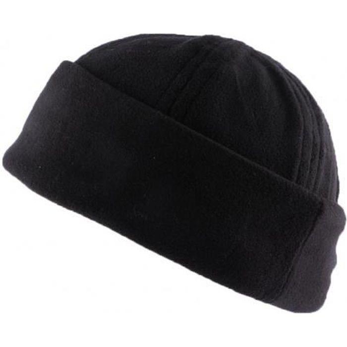 Bonnet Docker Noir en tissu polaire - Noir - Taille unique