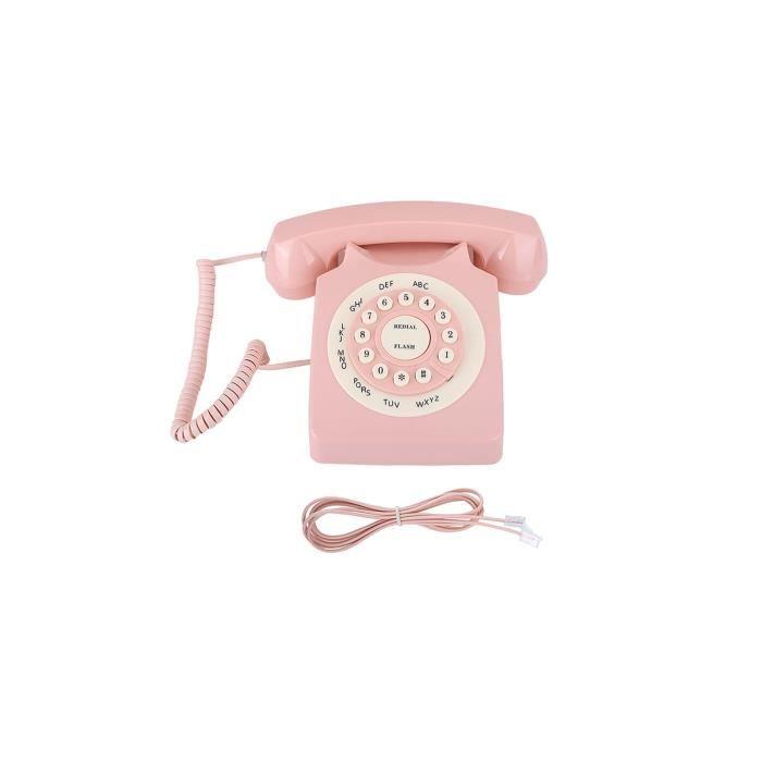 Téléphone rétro Classic Classic Vintage Téléphone câblé Téléphone Cordé Téléphone fixe Téléphone Rétro Téléphone Téléphone Rose