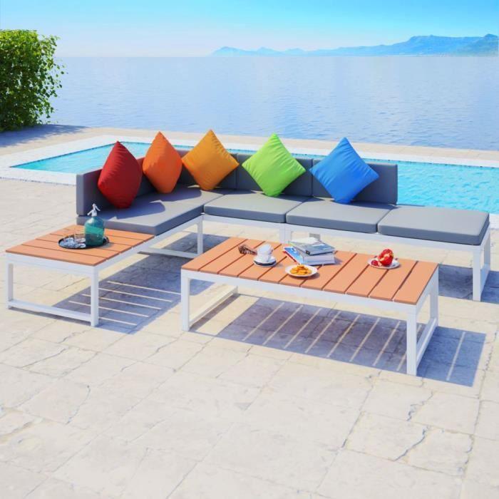Ensemble de canapés de jardin 19 pcs Aluminium WPC Canapé-lit Confortable Canapé d'angle
