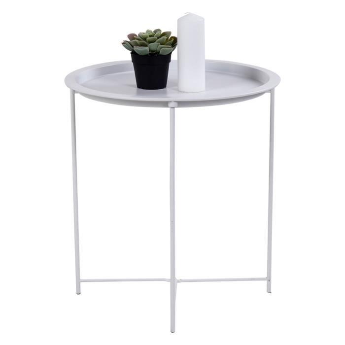 Table d'appoint en acier laqué blanc - Ø 46,8 x 50,5 cm