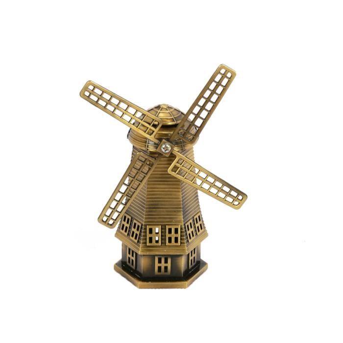 1PC hollandais moulin à vent décoratif en alliage de zinc Miniature rétro pour bureau salon maison