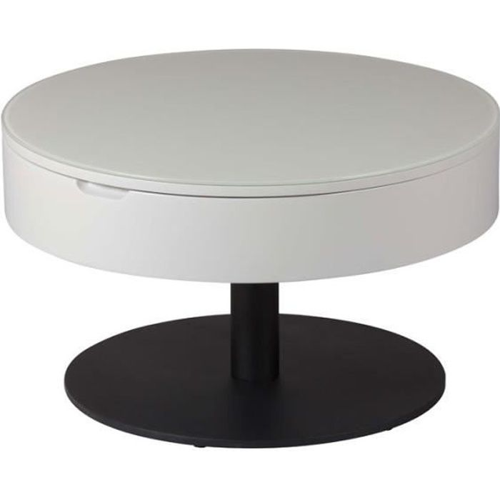 Table basse ronde relevable Gris clair/Anthracite mat - AONANG - L 70 x l 70 x H 40