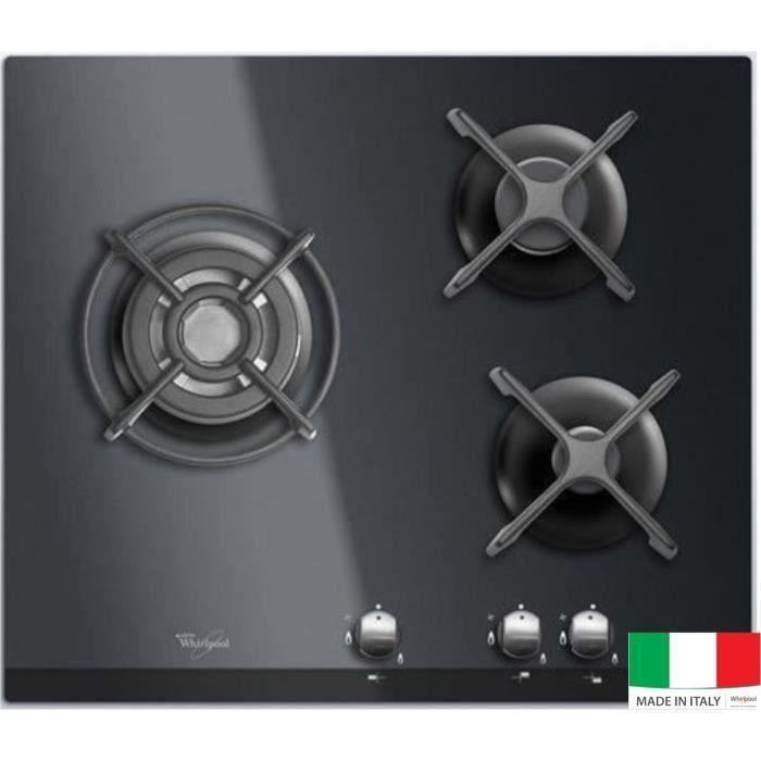 WHIRLPOOL AKT404NB Plaque de cuisson Gaz - 3 foyers - 6350W - L59 x P51cm - Revêtement verre trempé - Noir