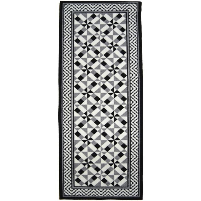 utopia tapis de couloir carreaux de ciment 67x180 cm noir gris et blanc achat vente tapis. Black Bedroom Furniture Sets. Home Design Ideas