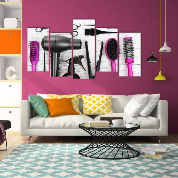 5 Piece Toile Art de mur Machine à séchoir à cheveux Peigne Coiffeur  Peinture à outils Modulaire Wall Picture Salon de coiffure Déco