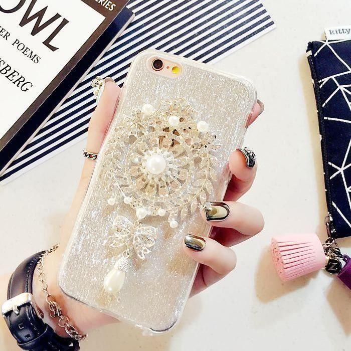 coque iphone 6 plus perles transparentes pendentif