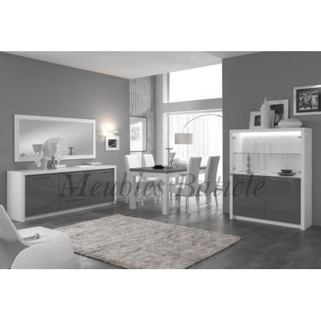 salle manger design fano laqu gris blanc led int gr achat vente salle manger salle. Black Bedroom Furniture Sets. Home Design Ideas