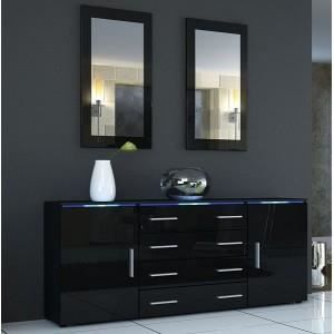 bahut design noir laqu oui non oui achat vente. Black Bedroom Furniture Sets. Home Design Ideas