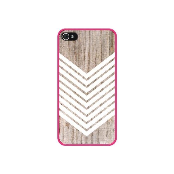 Coque iPhone 4 et 4S Tribal Aztèque Bois Wood Flèc