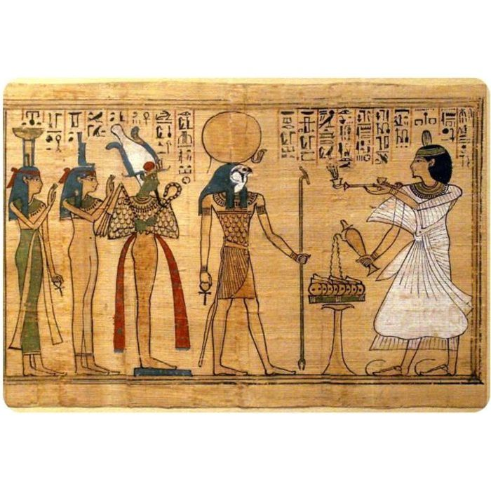 Autocollant sticker egypte papyrus papier ra re achat for Decoration egyptienne murale