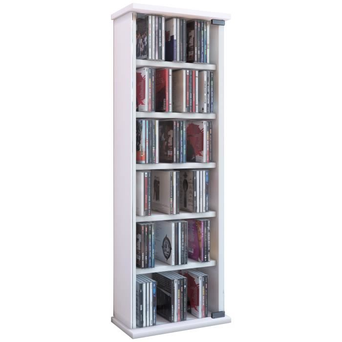 Vetro commode tour rangement biblioth que cd dvd 150 cd blanc achat vente - Bibliotheque dvd meuble ...