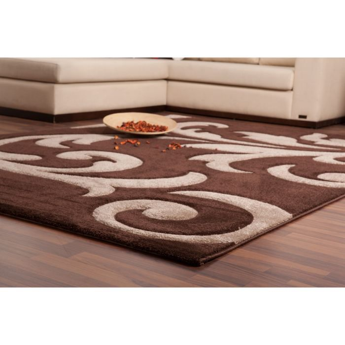 tapis moderne 120x170cm 100 polypropyl ne marron achat vente tapis cdiscount. Black Bedroom Furniture Sets. Home Design Ideas